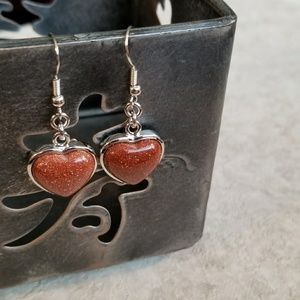 Brown Goldstone Heart Gemstone Pendant Earrings